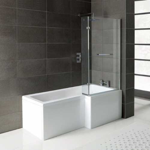 Matrix L-Shape 1600mm Shower Bath, Front Panel & Screen - Right Hand
